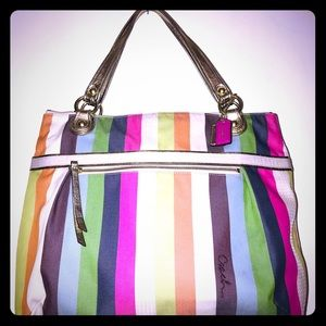 Coach tote shopper  Multi color large size bag